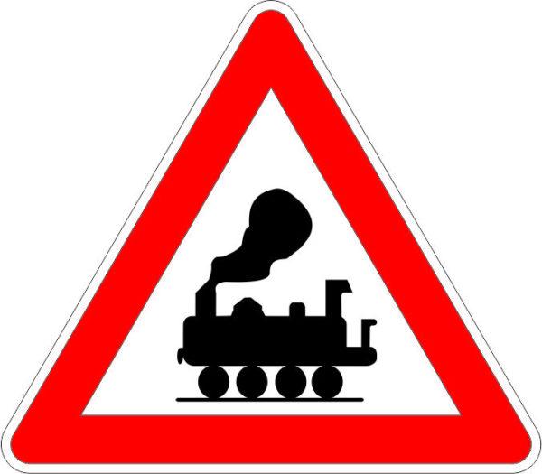 пътен знак А-33Железопътен прелез без бариери